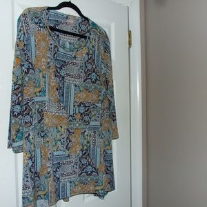 Chicos Blue Paisley 3/4 Sleeve Tunic Top Size 4